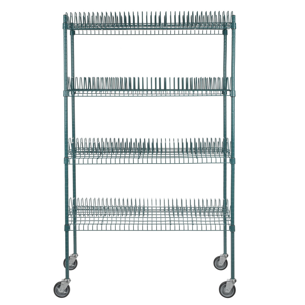 Regency 24 inch x 48 inch Green Epoxy Drying Rack Shelf Kit with 64 inch Posts and Casters - 1 1/4 inch Slots