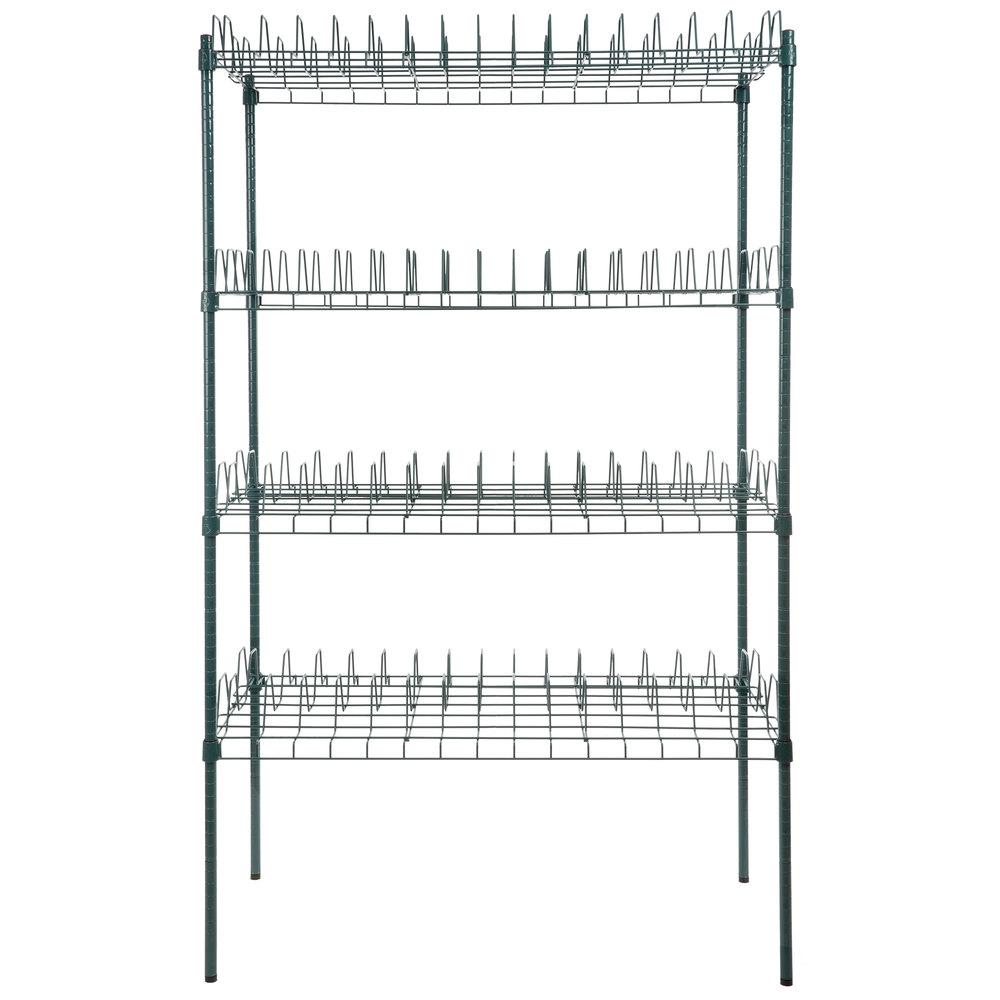 Regency 24 inch x 48 inch Green Epoxy Drying Rack Shelf Kit with 74 inch Posts - 3 inch Slots