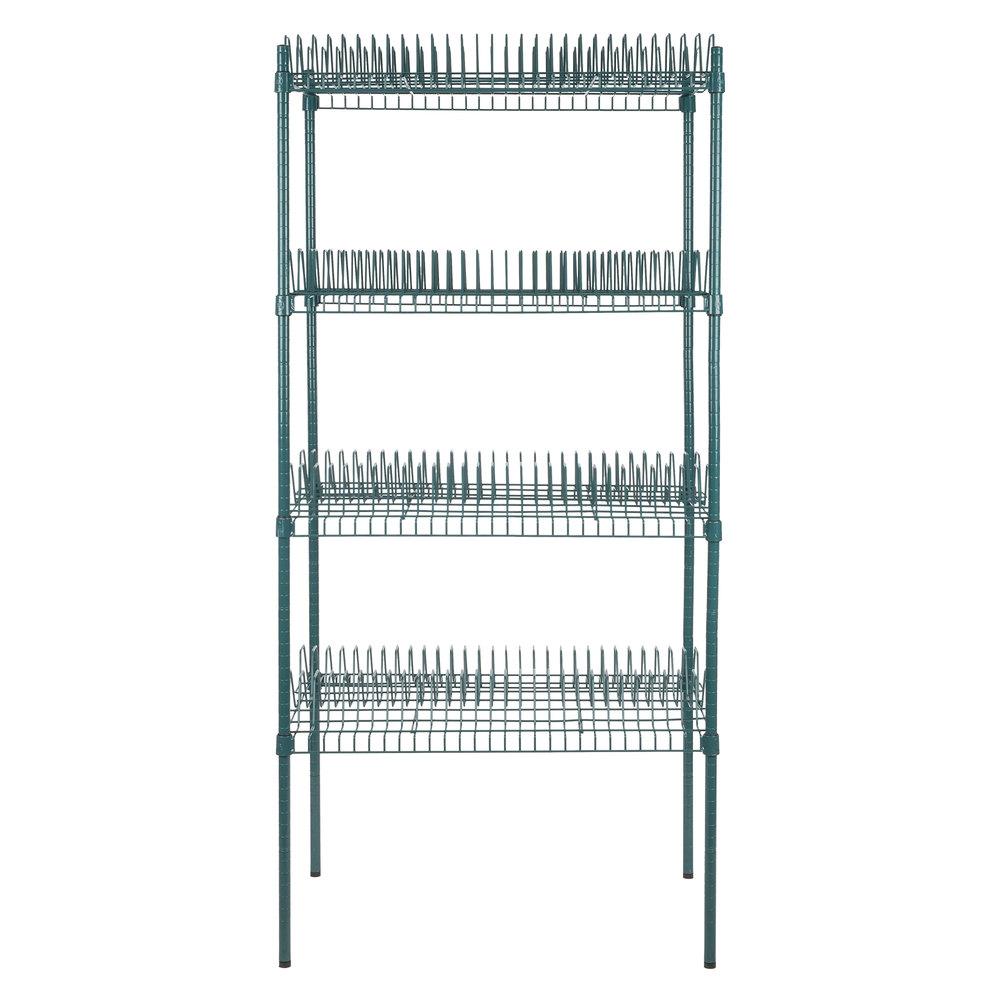 Regency 24 inch x 36 inch Green Epoxy Drying Rack Shelf Kit with 74 inch Posts - 1 1/4 inch Slots