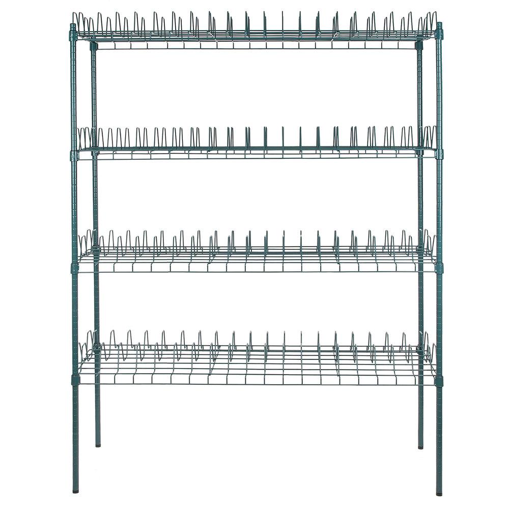 Regency 24 inch x 60 inch Green Epoxy Drying Rack Shelf Kit with 74 inch Posts - 3 inch Slots