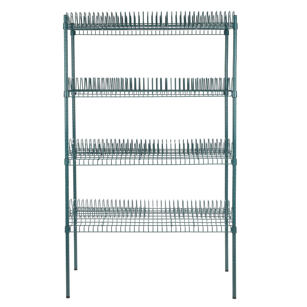 Regency 24 inch x 48 inch Green Epoxy Drying Rack Shelf Kit with 74 inch Posts - 1 1/4 inch Slots