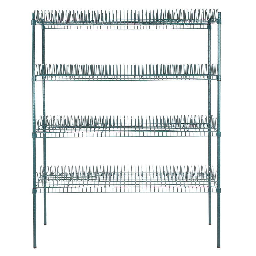 Regency 24 inch x 60 inch Green Epoxy Drying Rack Shelf Kit with 74 inch Posts - 1 1/4 inch Slots