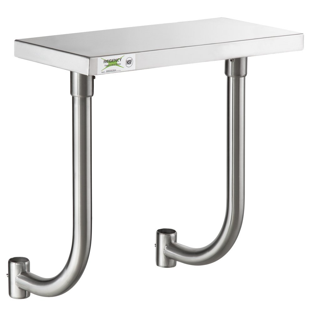 Regency 10 inch x 24 inch Stainless Steel Adjustable Work Surface for 24 inch Long Equipment Stands