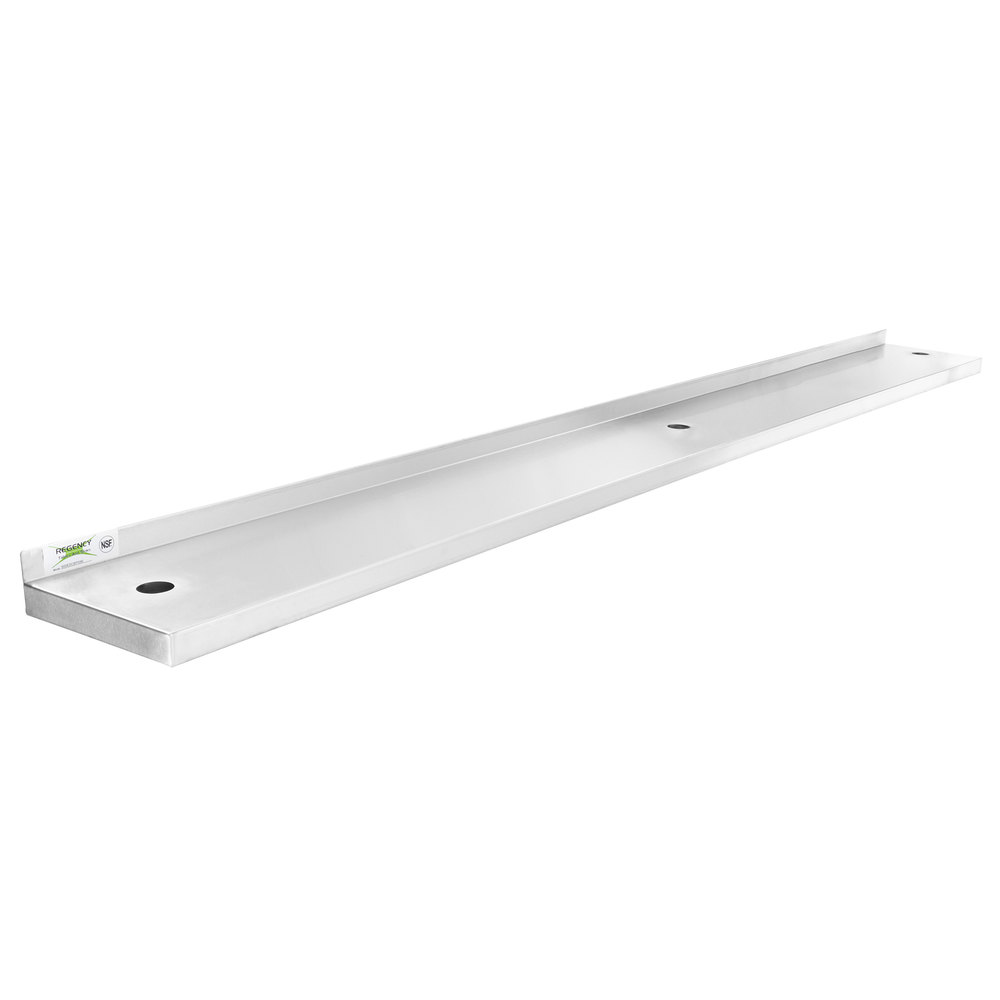 Regency 10 inch x 96 inch Stainless Steel Plate Shelf for 96 inch Long Equipment Stands
