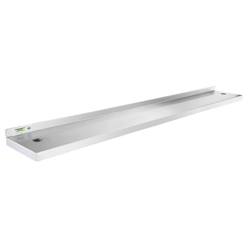Regency 10 inch x 72 inch Stainless Steel Plate Shelf for 72 inch Long Equipment Stands