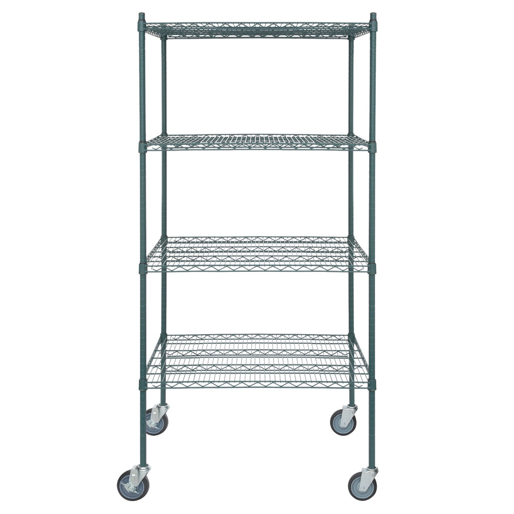 Regency 30 inch x 36 inch NSF Green Epoxy Shelf Kit with 64 inch Posts and Casters