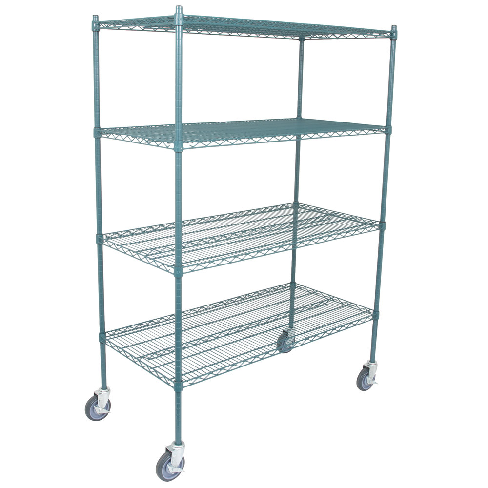 Regency 30 inch x 48 inch NSF Green Epoxy Shelf Kit with 64 inch Posts and Casters