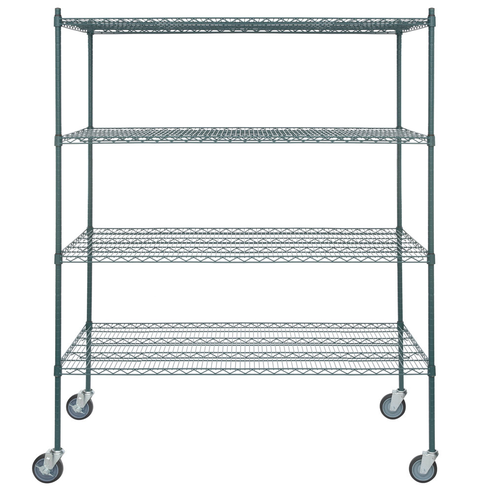 Regency 30 inch x 60 inch NSF Green Epoxy Shelf Kit with 64 inch Posts and Casters