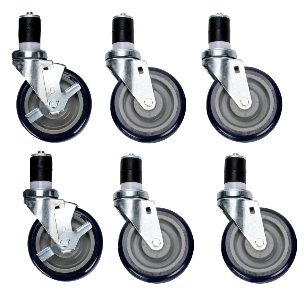 Regency 5 inch Swivel Stem Casters for Work Tables and Equipment Stands - 6/Set