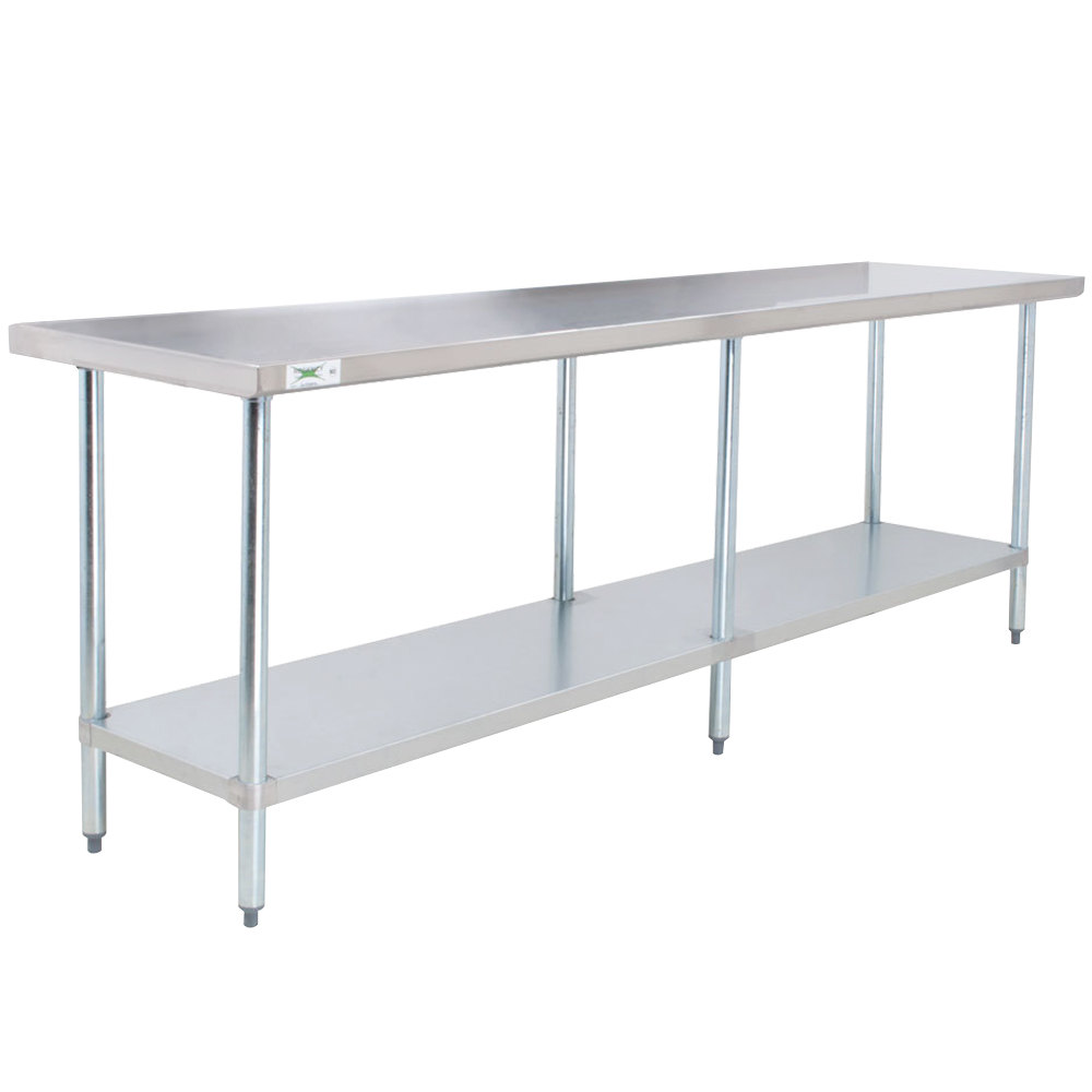 Regency 24 inch x 96 inch 18-Gauge 304 Stainless Steel Commercial Work Table with Galvanized Legs and Undershelf