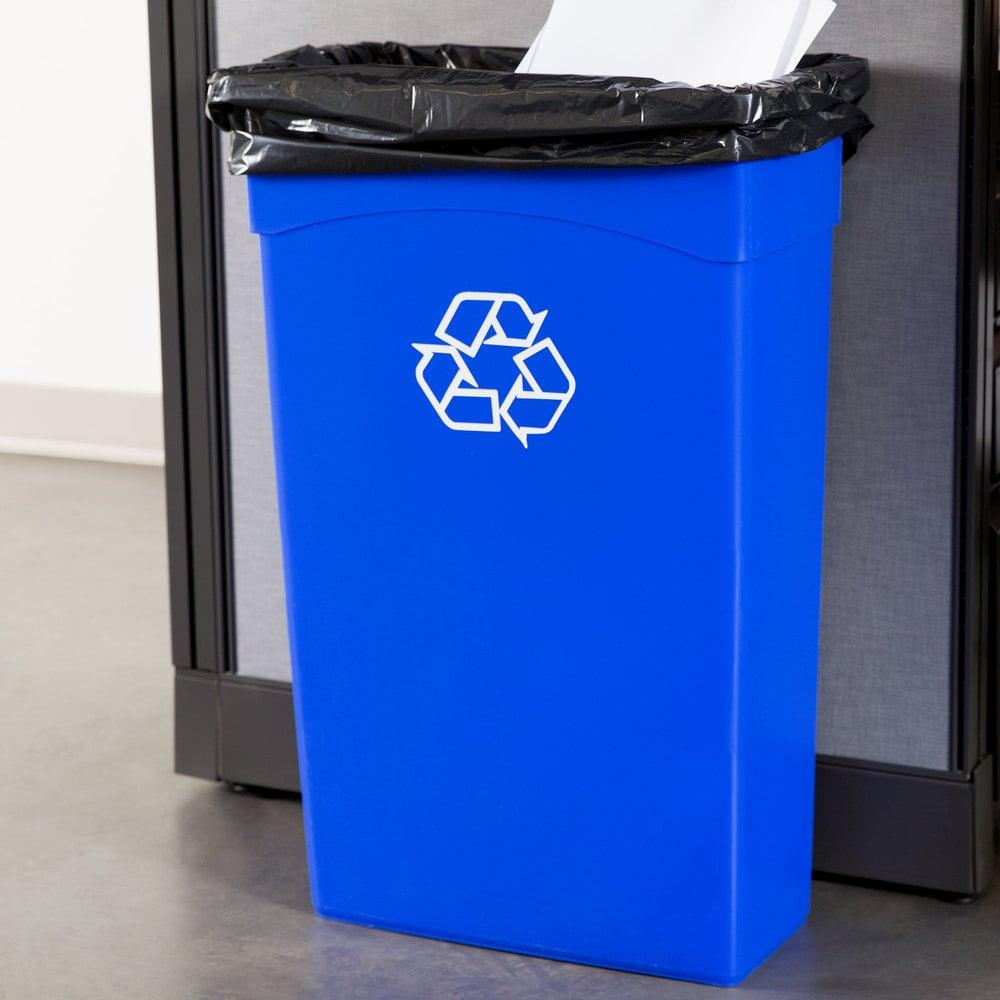 continental 8322 1 23 gallon blue wall hugger slim recycle bin. Black Bedroom Furniture Sets. Home Design Ideas