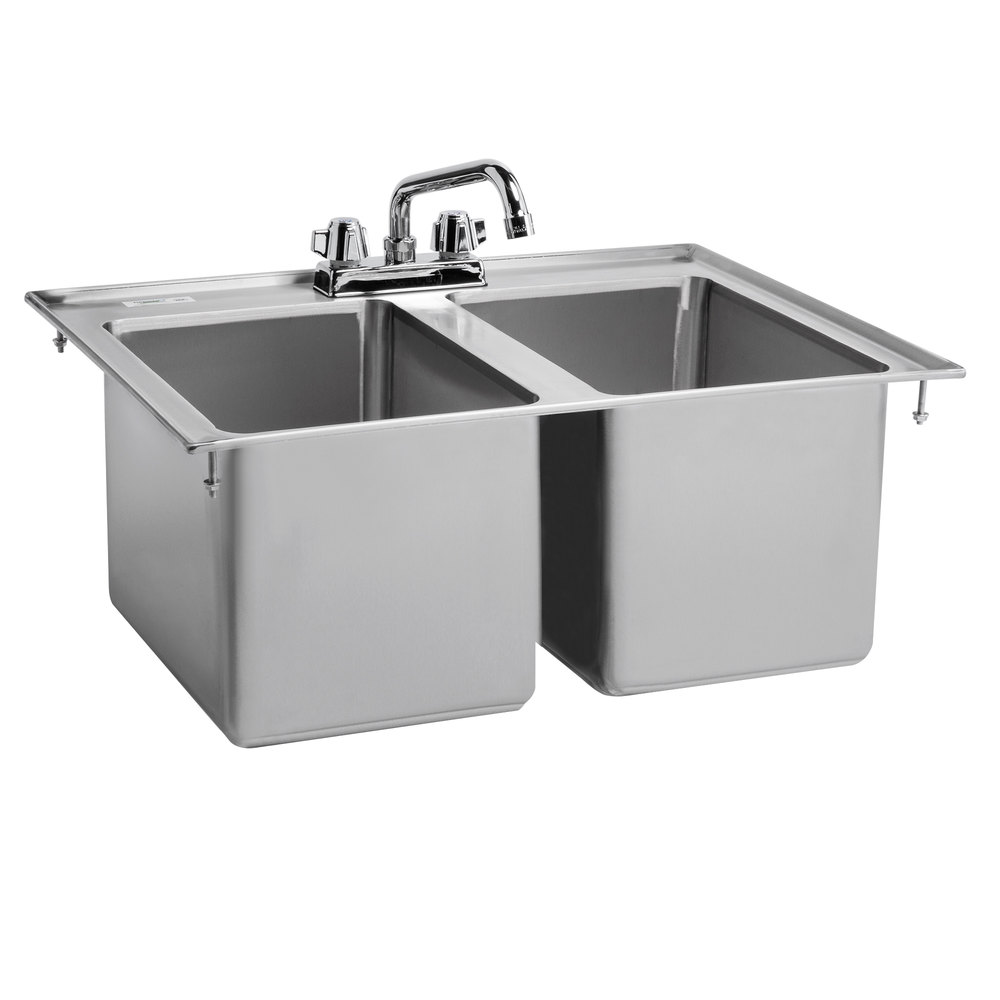 Regency 10 inch x 14 inch x 10 inch 16-Gauge Stainless Steel Two Compartment Drop-In Sink with 8 inch Swing Faucet