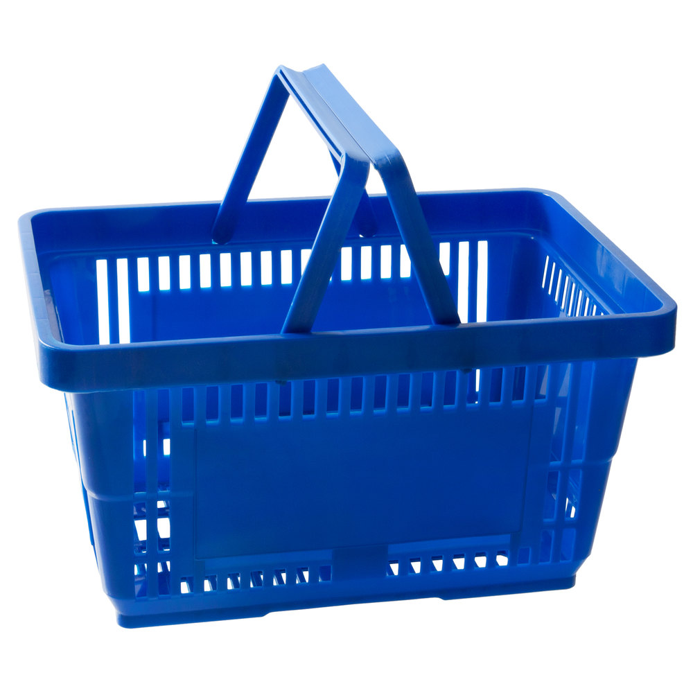 Regency Blue 16 1/8 inch x 11 inch Plastic Grocery Market Shopping Basket with Plastic Handles - 12/Pack