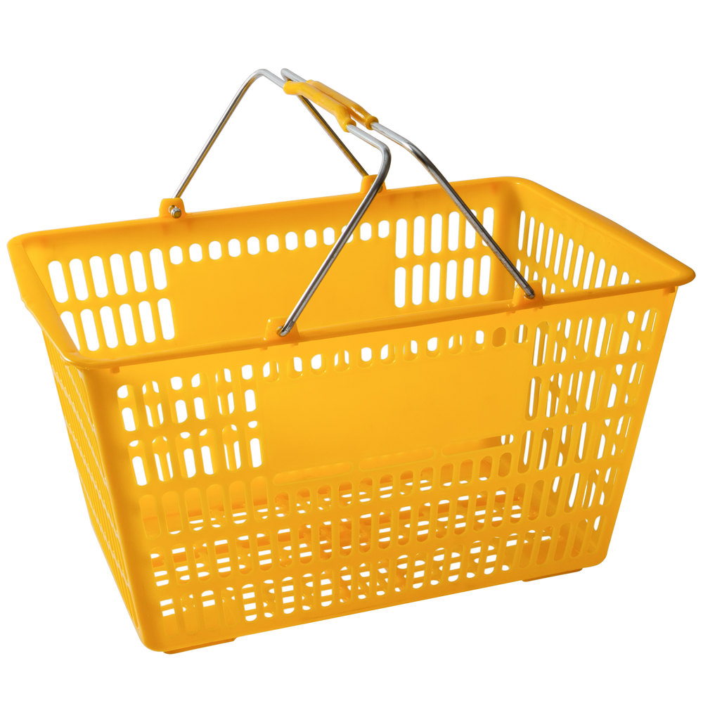 Regency Yellow 18 3/4 inch x 11 1/2 inch Plastic Grocery Market Shopping Basket - 12/Pack