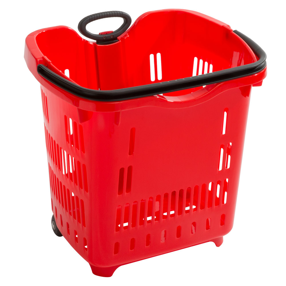 Regency Red 21 1/4 inch x 16 1/2 inch Plastic Grocery Market Shopping Basket with Wheels - 6/Pack