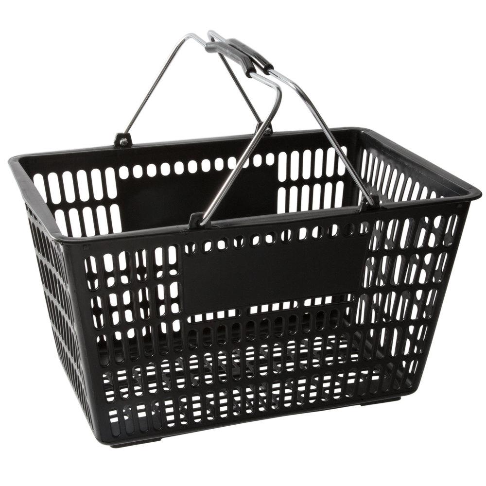 Regency Black 18 3/4 inch x 11 1/2 inch Plastic Grocery Market Shopping Basket - 12/Pack