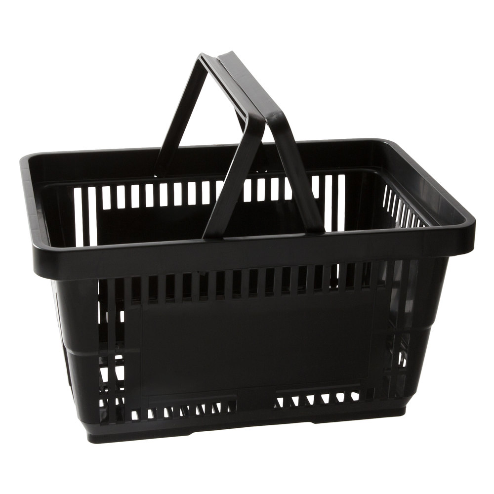 Regency Black 16 1/8 inch x 11 inch Plastic Grocery Market Shopping Basket with Plastic Handles