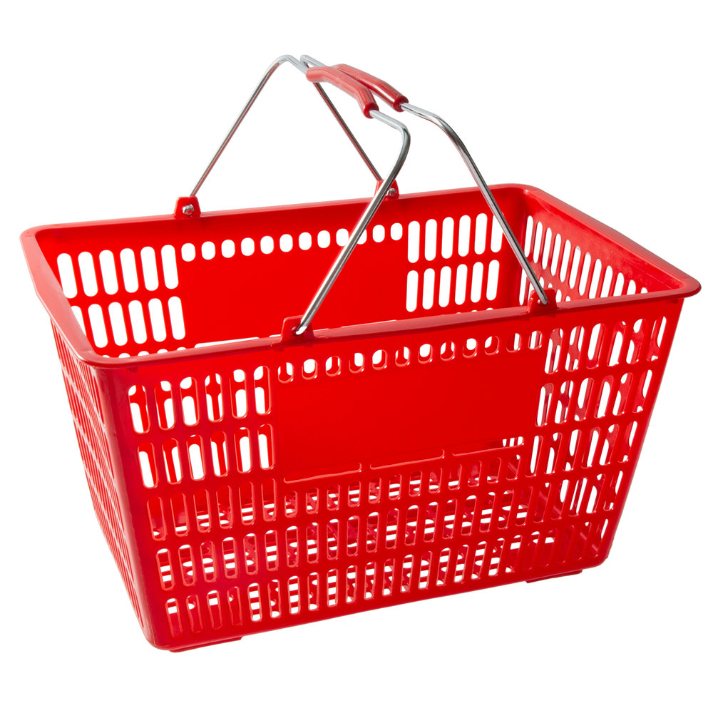 Regency Red 18 3/4 inch x 11 1/2 inch Plastic Grocery Market Shopping Basket