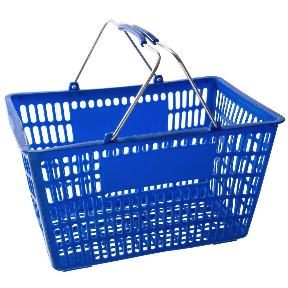 Regency Blue 18 3/4 inch x 11 1/2 inch Plastic Grocery Market Shopping Basket - 12/Pack