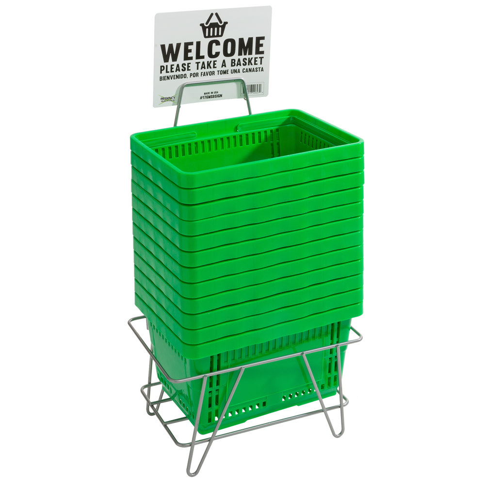 Regency Green 16 1/8 inch x 11 inch Plastic Grocery Market Shopping Baskets with Stand and Sign