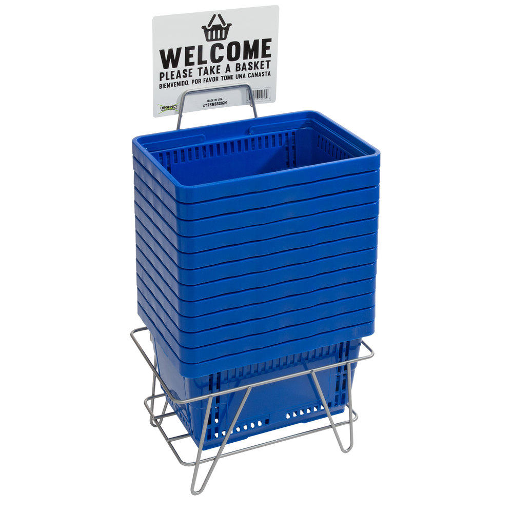 Regency Blue 16 1/8 inch x 11 inch Plastic Grocery Market Shopping Baskets with Stand and Sign