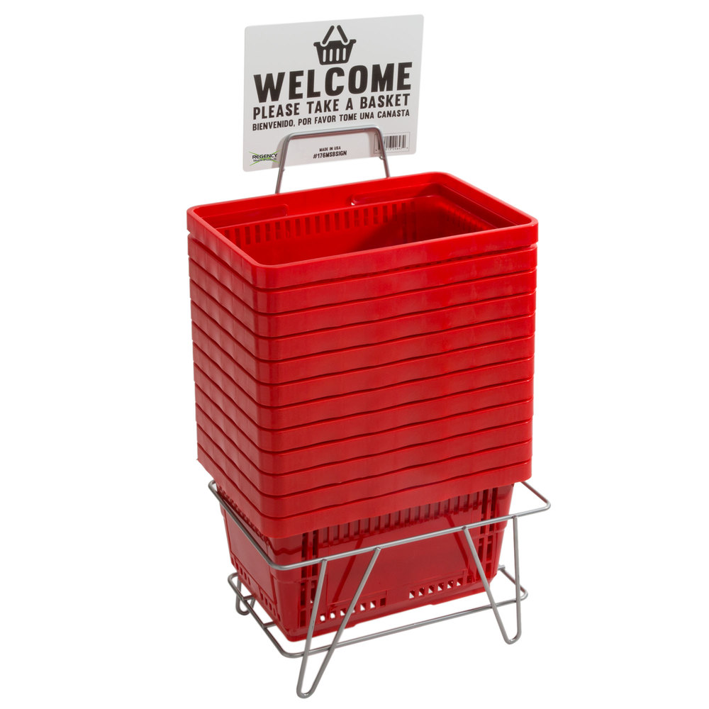 Regency Red 16 1/8 inch x 11 inch Plastic Grocery Market Shopping Baskets with Stand and Sign