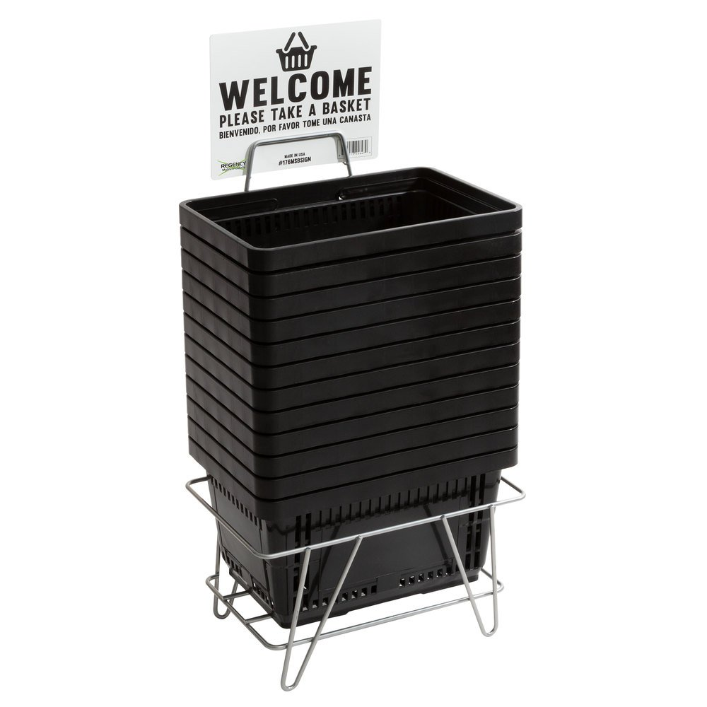 Regency Black 16 1/8 inch x 11 inch Plastic Grocery Market Shopping Baskets with Stand and Sign
