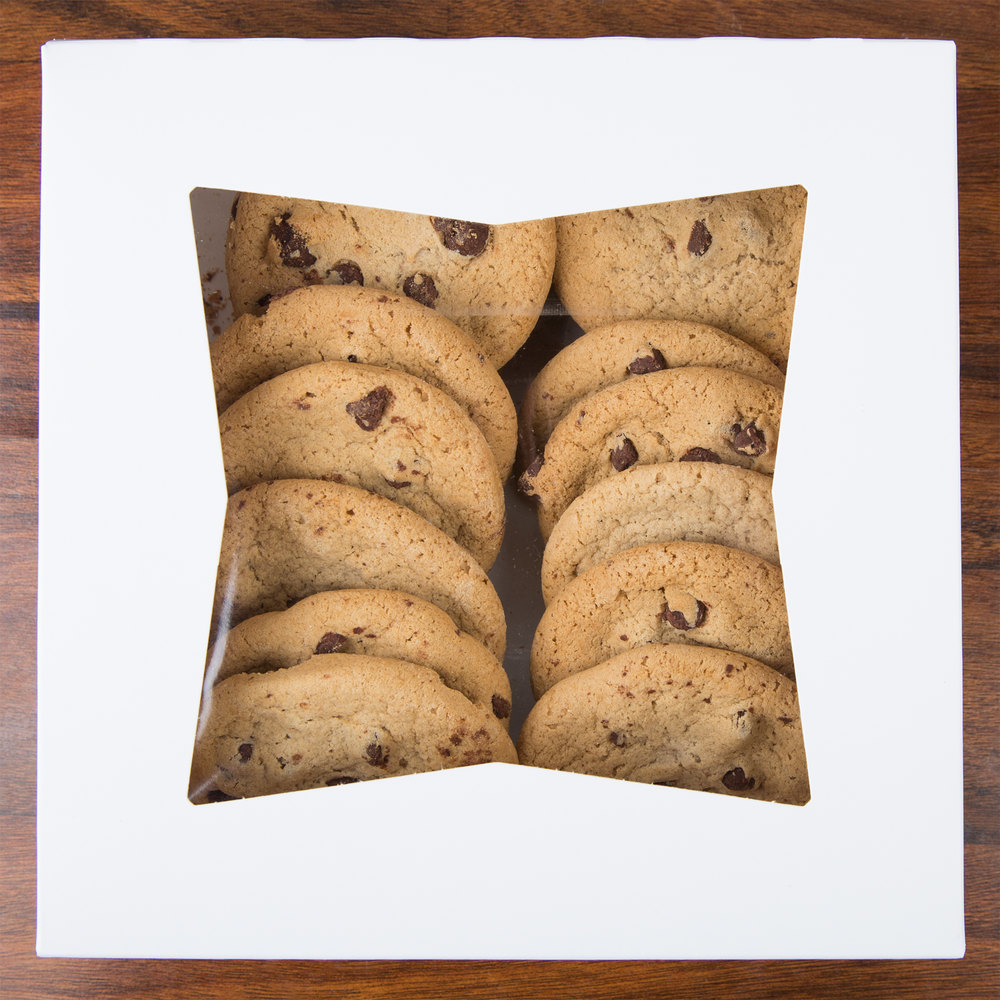 Cookies packaged in a bakery box
