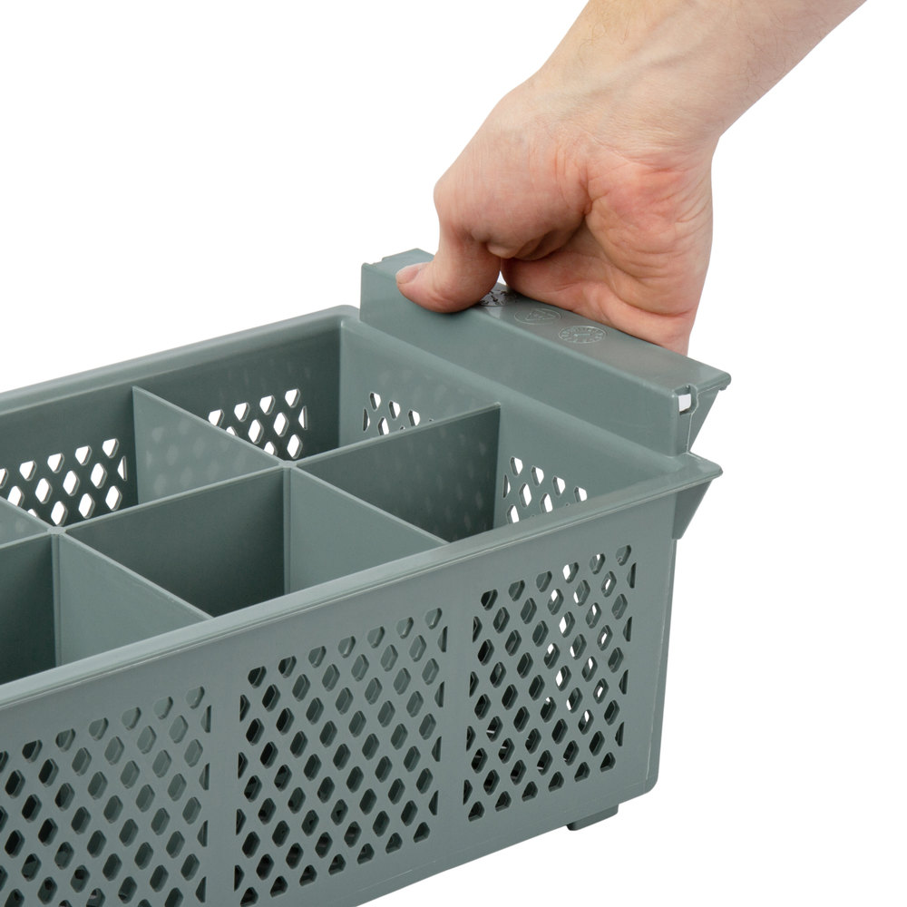 Noble Products 8 Compartment Half Size Grey Flatware Rack
