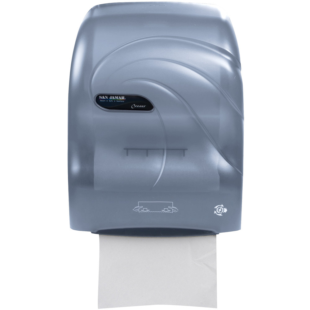 san jamar t7090tbl simplicity oceans hands free paper towel dispenser arctic blue - Paper Towel Dispenser