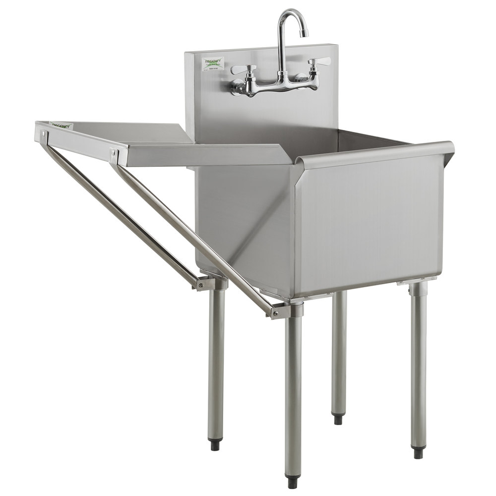 Regency 18 inch 16-Gauge Stainless Steel One Compartment Commercial Utility Sink with Faucet and 18 inch Drainboard - 18 inch x 18 inch x 14 inch Bowl