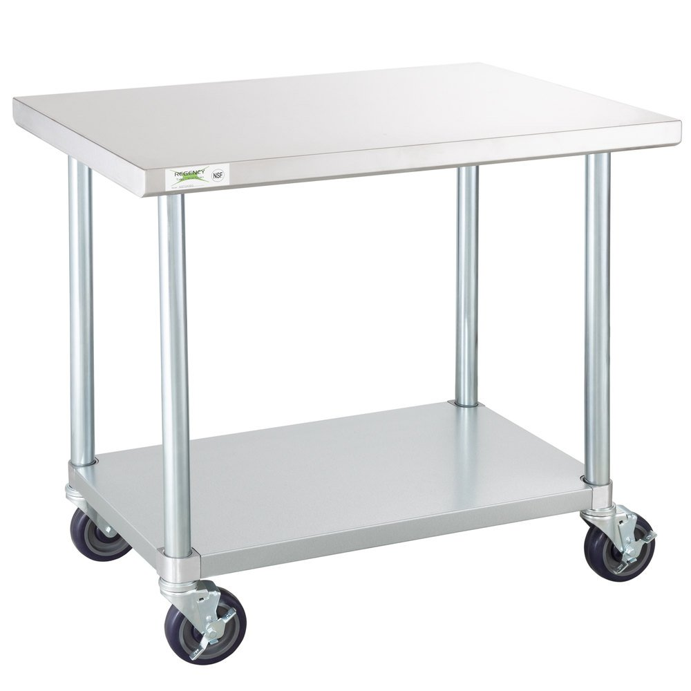 Regency 24 inch x 36 inch 18-Gauge 304 Stainless Steel Commercial Work Table with Galvanized Legs, Undershelf and Casters