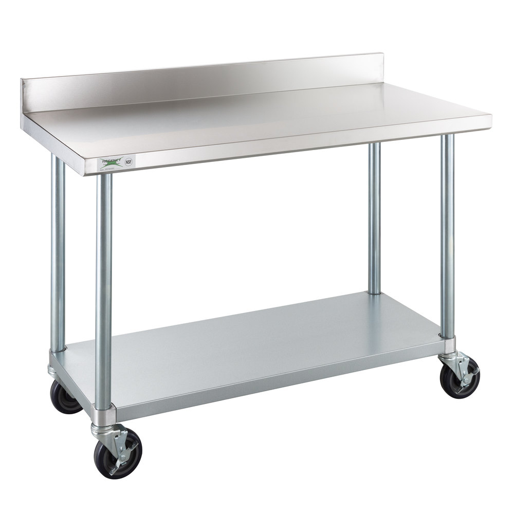Regency 24 inch x 48 inch 18-Gauge 304 Stainless Steel Commercial Work Table with 4 inch Backsplash, Galvanized Legs, Undershelf, and Casters
