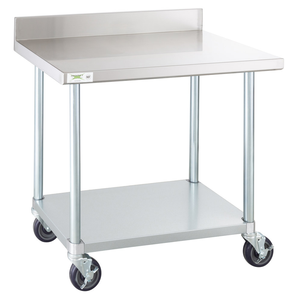 Regency 24 inch x 36 inch 18-Gauge 304 Stainless Steel Commercial Work Table with 4 inch Backsplash, Undershelf and Casters