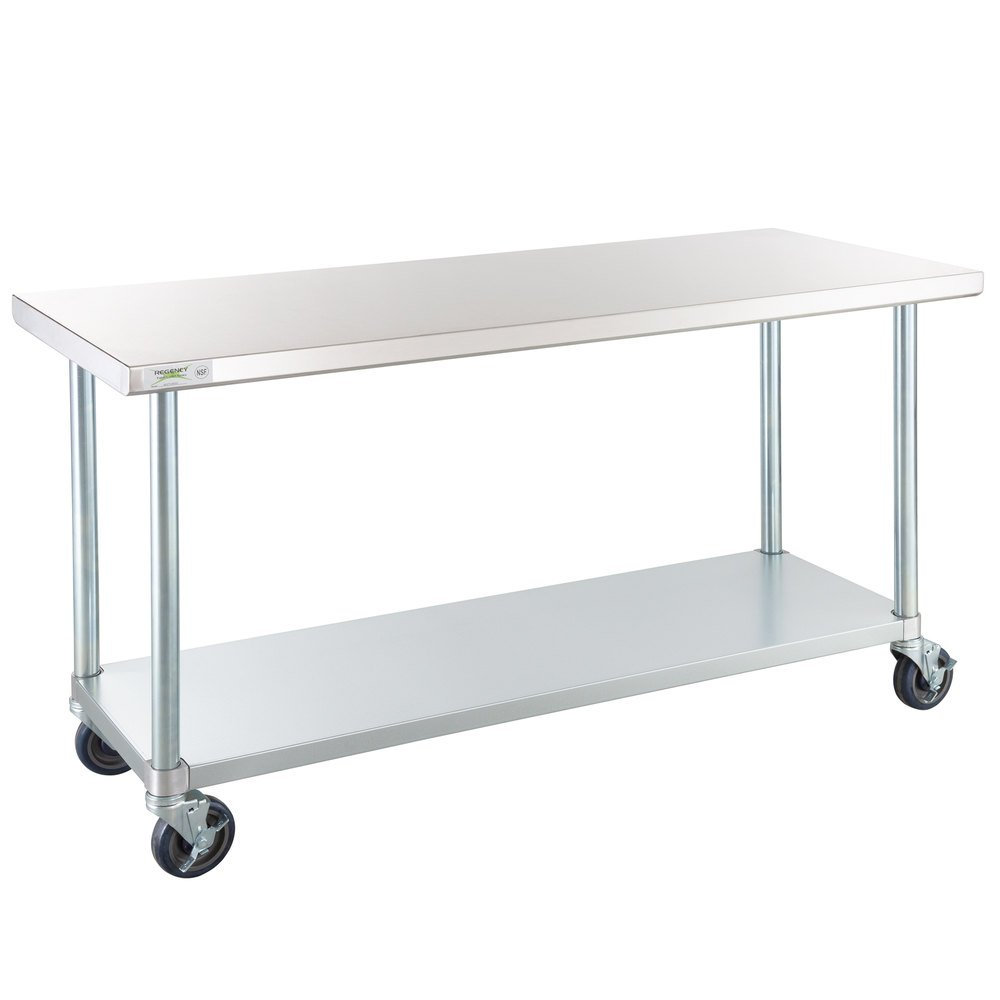 Regency 24 inch x 60 inch 18-Gauge 304 Stainless Steel Commercial Work Table with Galvanized Legs, Undershelf, and Casters