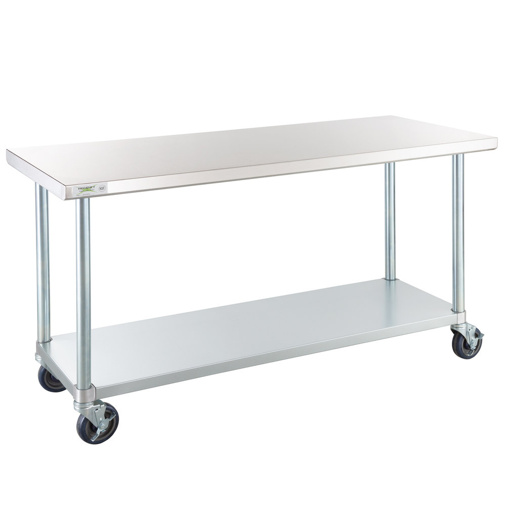 Regency 24 inch x 60 inch 18-Gauge 304 Stainless Steel Commercial Work Table with Galvanized Legs, Undershelf and Casters