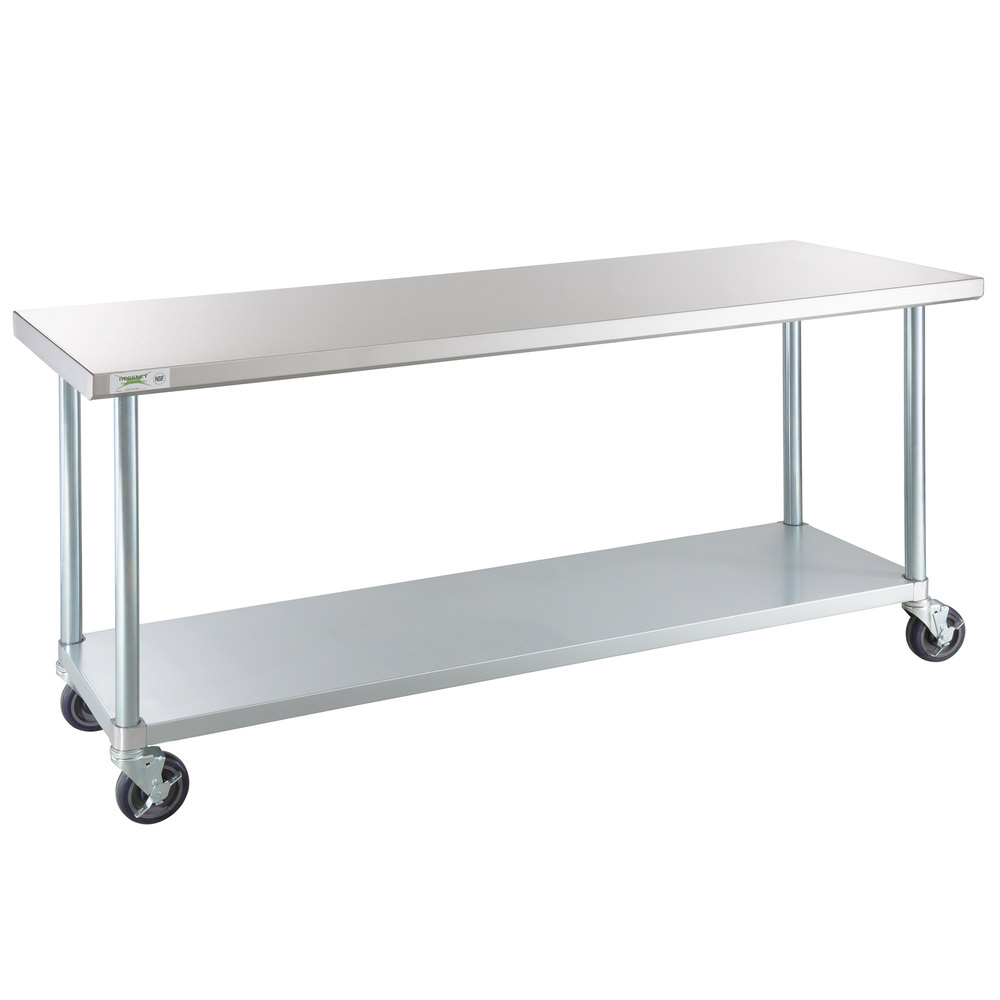 Regency 24 inch x 72 inch 18-Gauge 304 Stainless Steel Commercial Work Table with Galvanized Legs and Casters