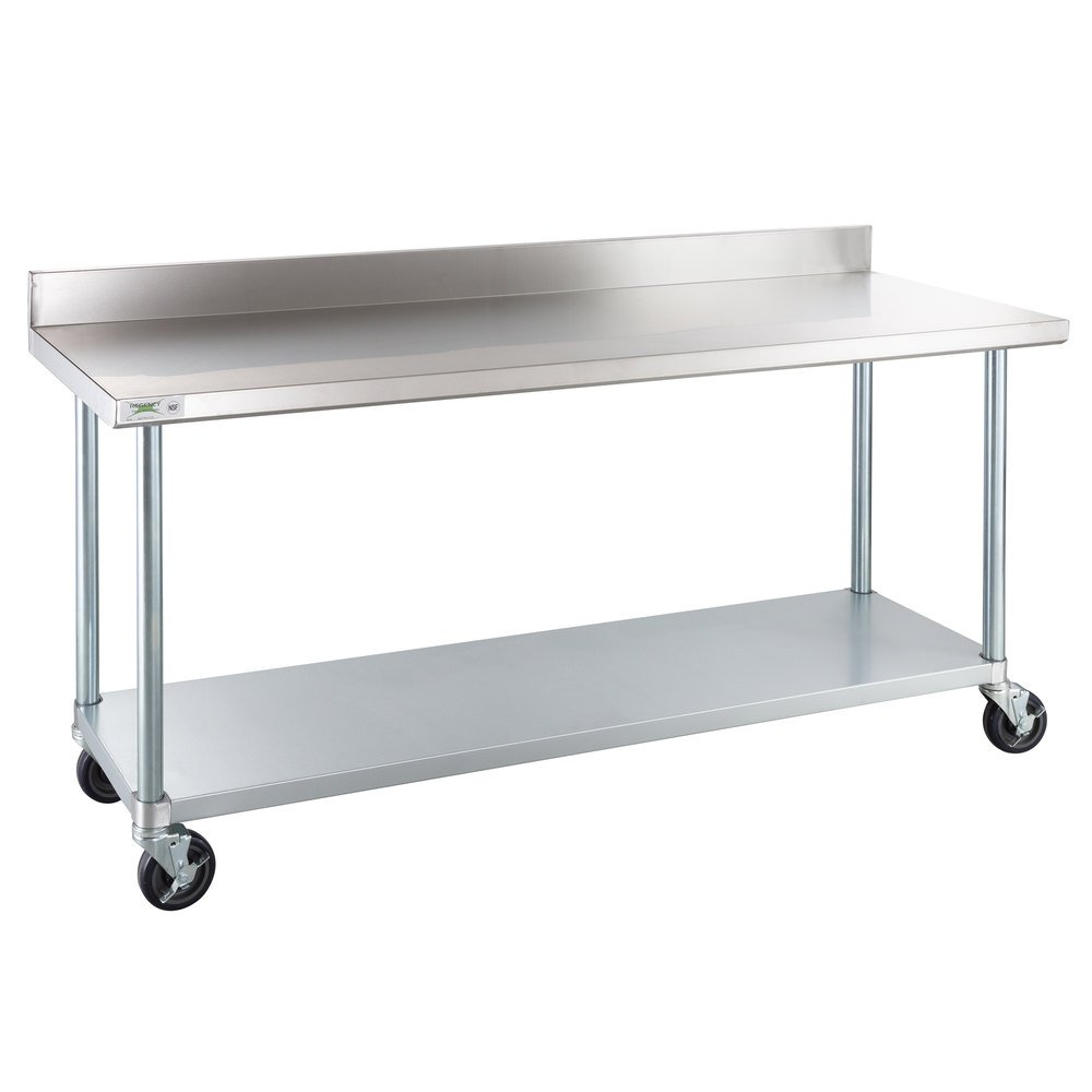 Regency 24 inch x 72 inch 18-Gauge 304 Stainless Steel Commercial Work Table with 4 inch Backsplash, Galvanized Legs, Undershelf, and Casters