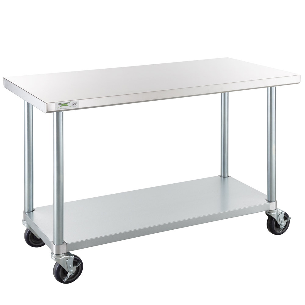Regency 24 inch x 48 inch 18-Gauge 304 Stainless Steel Commercial Work Table with Galvanized Legs, Undershelf, and Casters