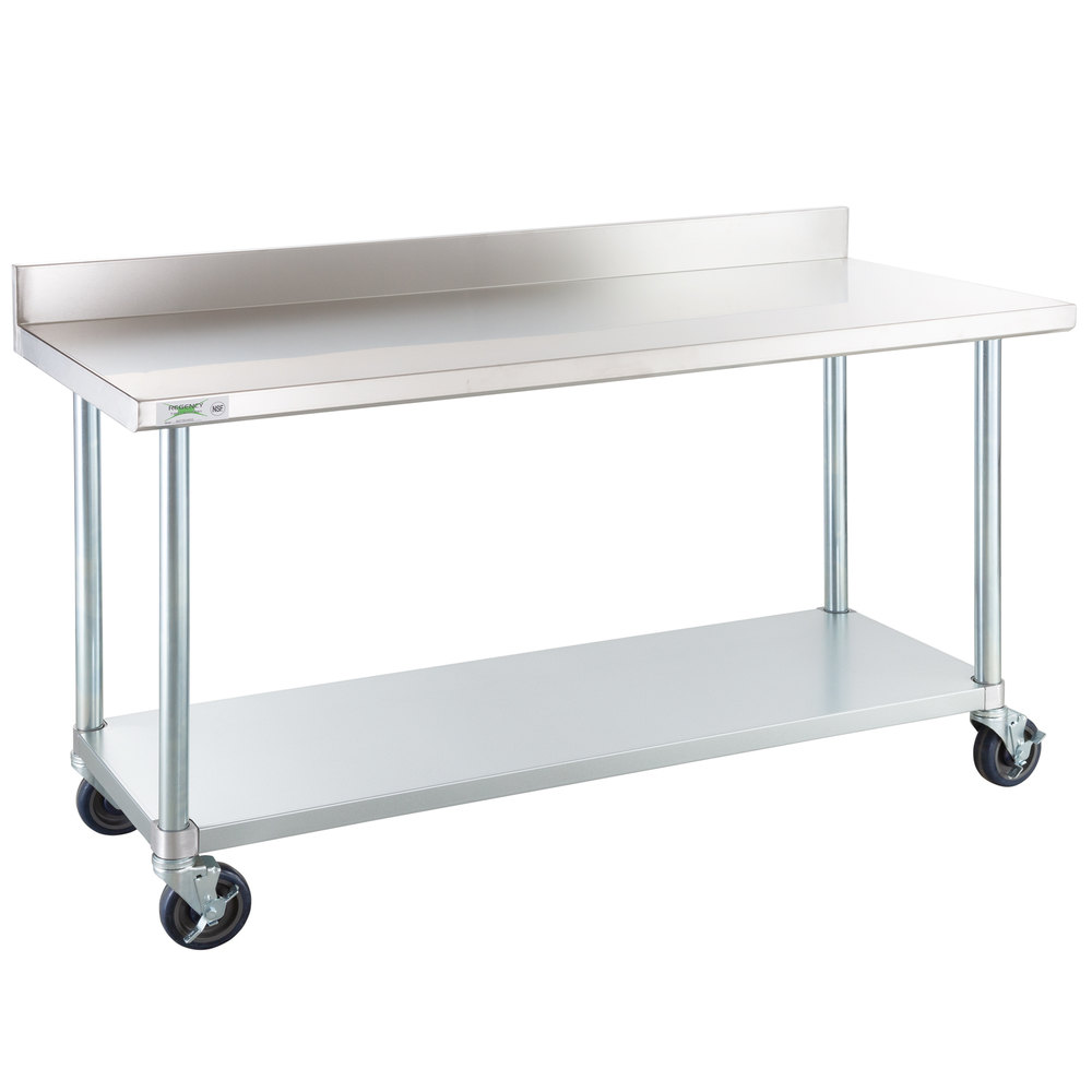 Regency 24 inch x 60 inch 18-Gauge 304 Stainless Steel Commercial Work Table with 4 inch Backsplash, Undershelf and Casters