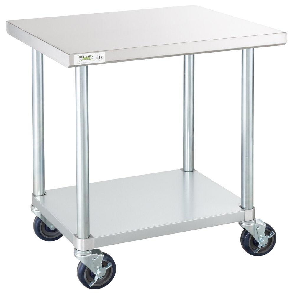 Regency 24 inch x 24 inch 18-Gauge 304 Stainless Steel Commercial Work Table with Galvanized Legs, Undershelf and Casters