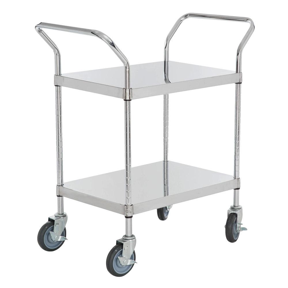 Regency Stainless Steel Two Shelf Utility Cart - 24 inch x 18 inch x 37 inch