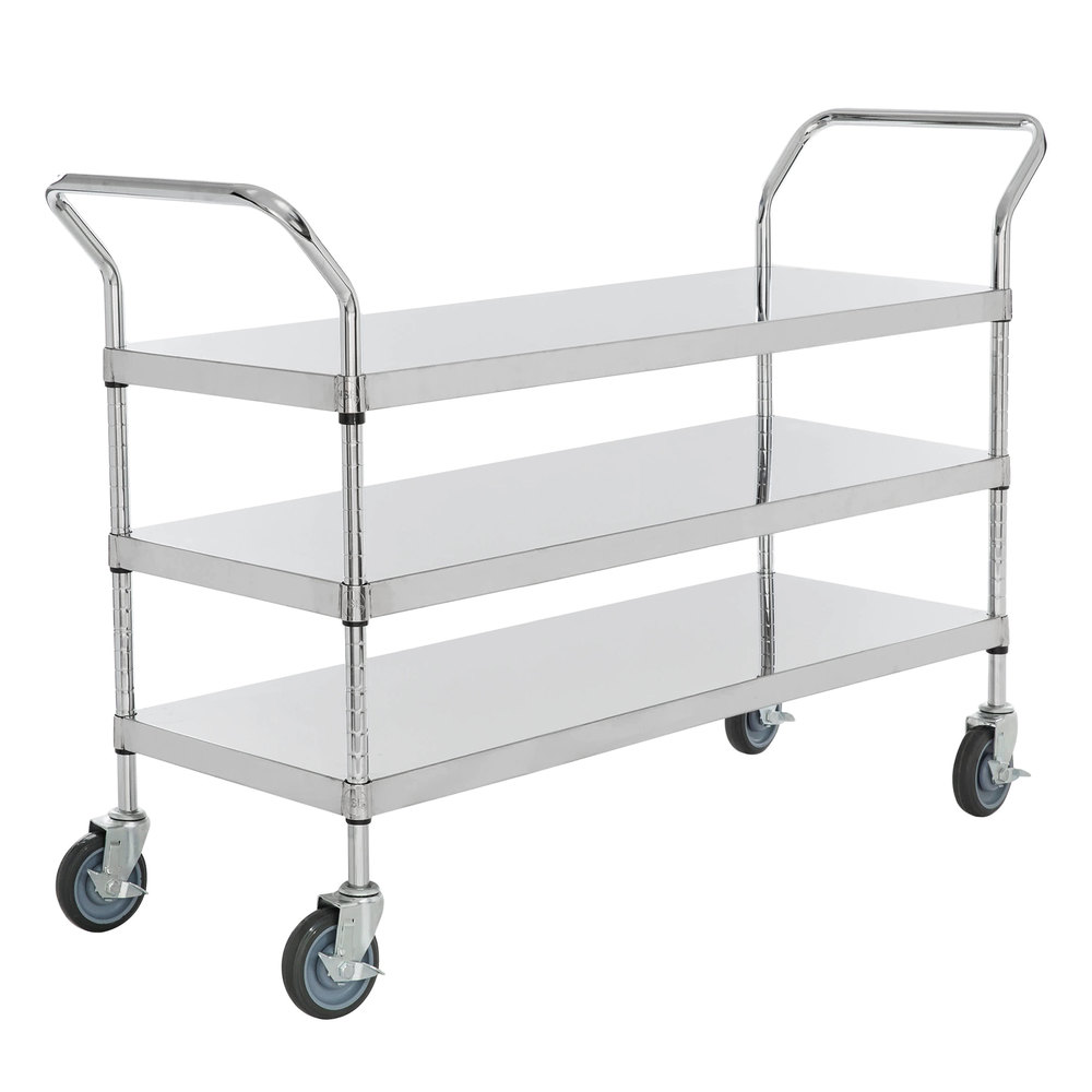Regency Stainless Steel Three Shelf Utility Cart - 48 inch x 18 inch x 37 inch