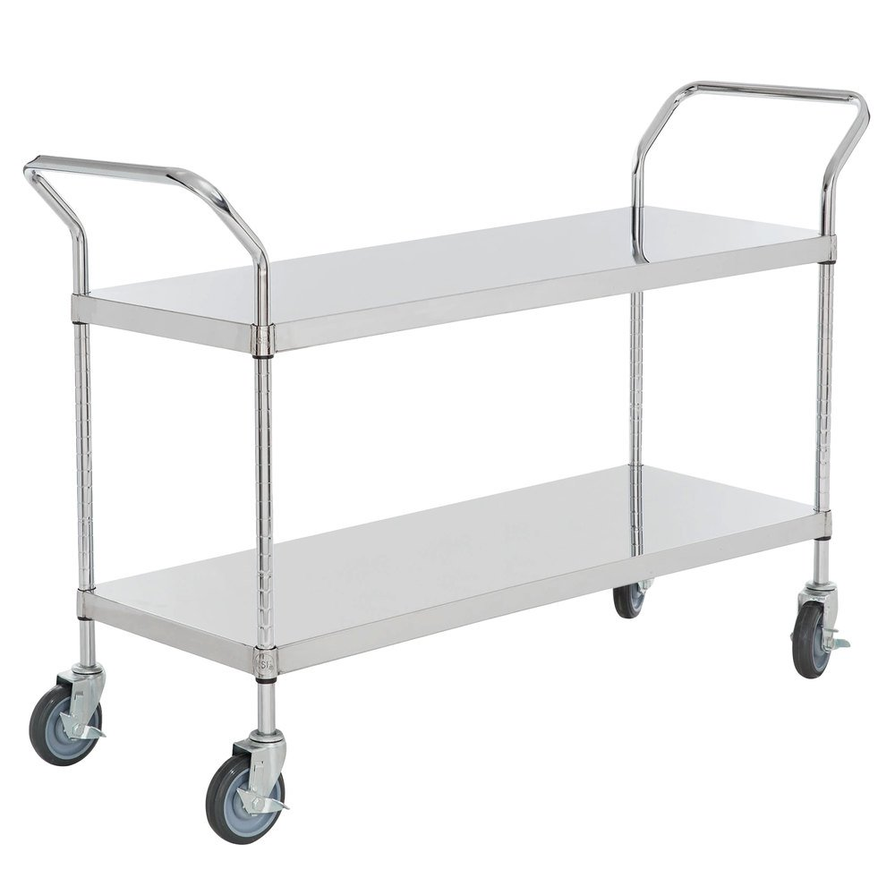 Regency Stainless Steel Two Shelf Utility Cart - 48 inch x 18 inch x 37 inch