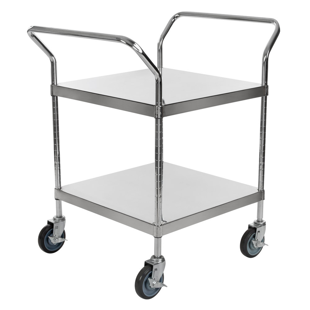 Regency Stainless Steel Two Shelf Utility Cart - 24 inch x 24 inch x 37 inch