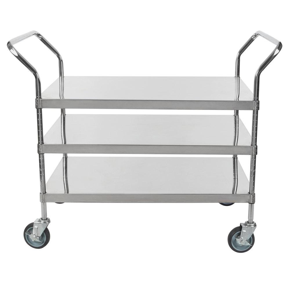 Regency Stainless Steel Three Shelf Utility Cart - 36 inch x 24 inch x 37 inch