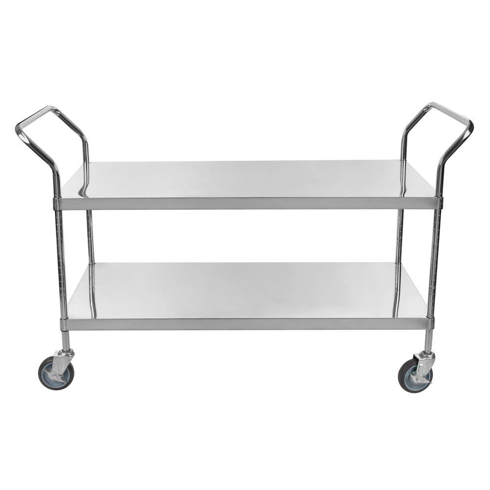 Regency Stainless Steel Two Shelf Utility Cart - 48 inch x 24 inch x 37 inch