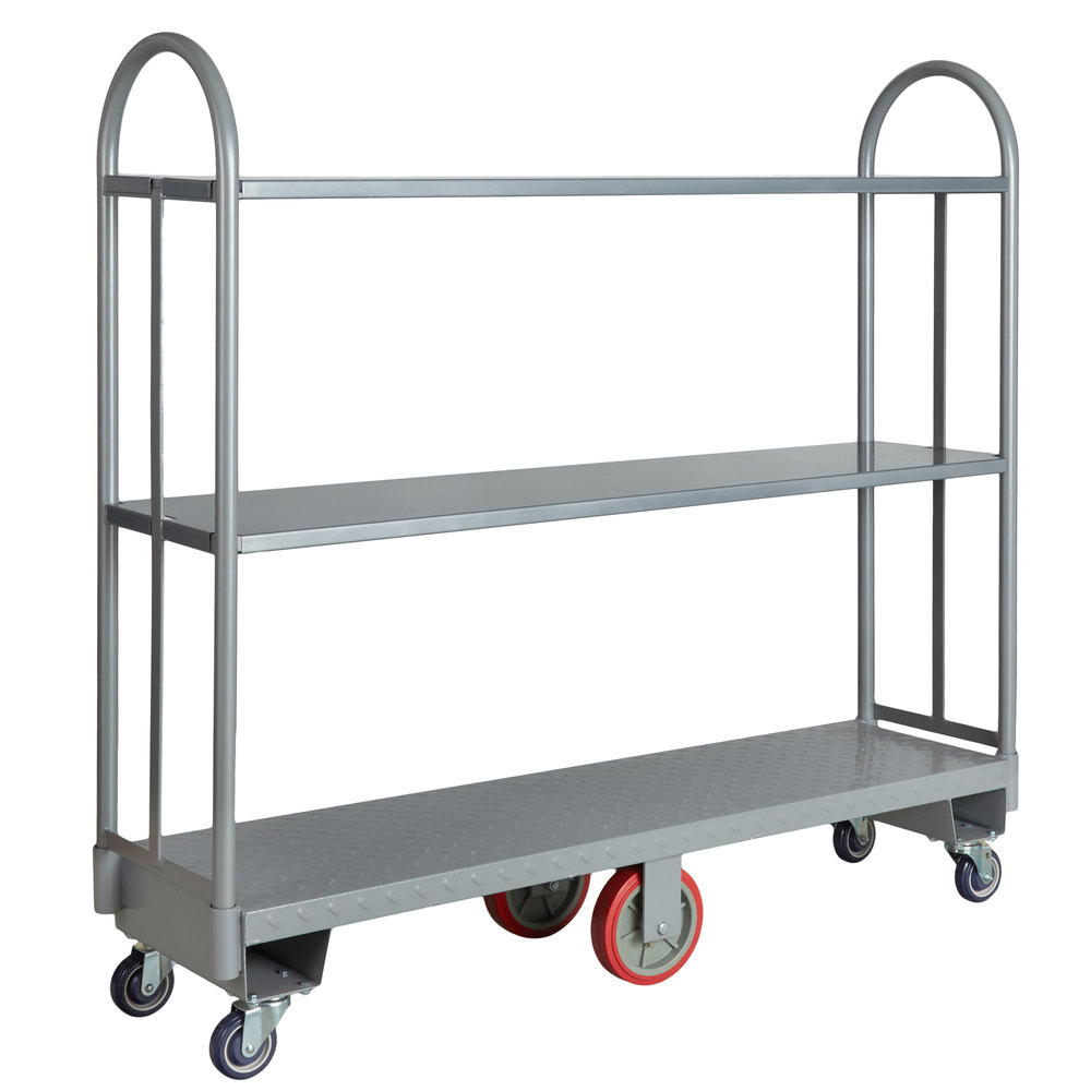 Regency 16 inch x 63 inch Heavy-Duty U-Boat Utility Cart with Two Removable Shelves - 2000 lb. Capacity
