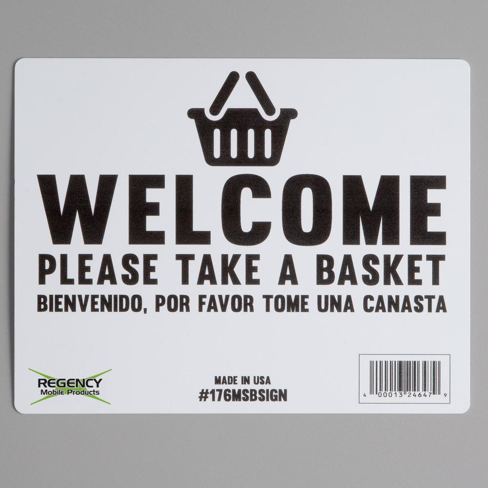 Regency Shopping Basket Sign for Basket Stand