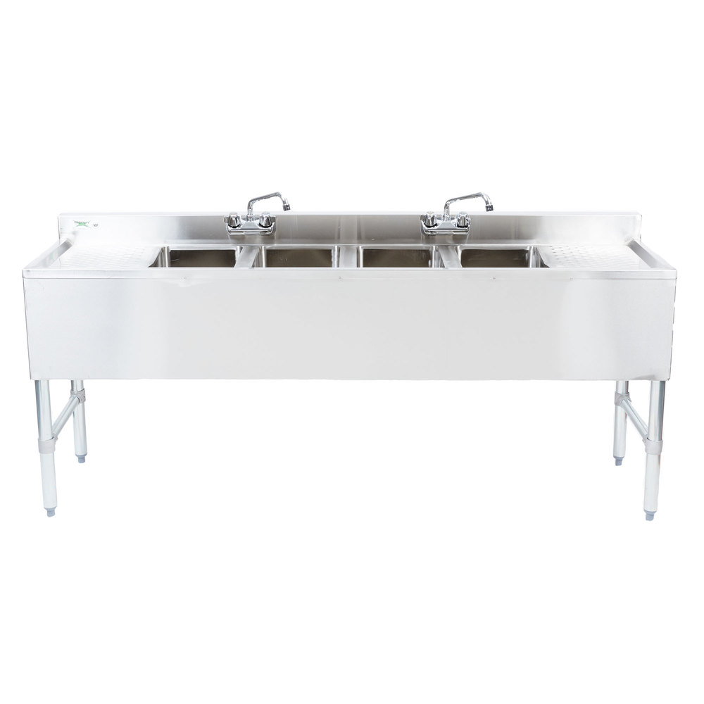 Regency 4 Bowl Underbar Sink With Two Faucets And Two Drainboards   72 Inch  X 18 ...